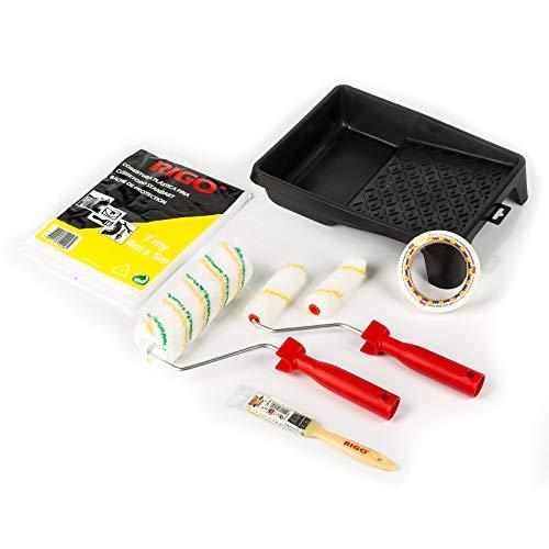 Rigo Kit de rouleaux de peinture anti-goutte réutilisables avec pinceau, ruban, couverture et plateau – Parfait pour murs et plafonds