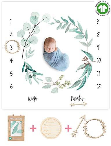 Organic Baby Monthly Milestone Blanket Newborn Boy Girl Unisex Gender Neutral  Green Leaf Wreath Eucalyptus Baby Nursery Month Picture Blanket  Growth Photography Background Prop Birth Announcement