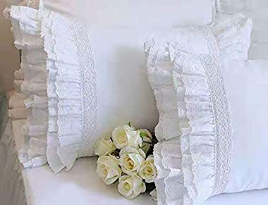 "Meaning4 2-Pack Bright White Pillow Shams Cases Covers with Ruffles and Embroidery Lace Egypt Cotton Queen Size 20""X30"" Luxur"