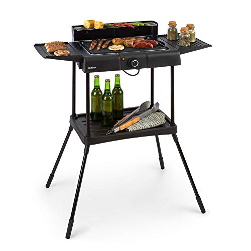 Klarstein Dr. Beef Pro Electric Grill - Power: 1700-2000 W, EasyGrill Concept, 41 x 26 cm Grill Area Made of Die-Cast Aluminium with Non-Stick Coating, Smoke-Free Grilling, Two Side Tables, Black