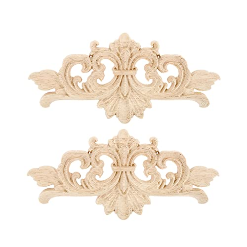 2Pcs Carved Furniture Appliques Onlays, 16x7cm/6.30'x2.76', Wooden Decal Corner Frame Decorative for Cabinet Dresser Bed Wall