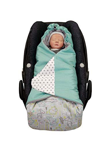 ULLENBOOM Arrullo bebé para verano e invierno | Manta envolvente para el cochecito, silla de paseo | 0-9 meses, certificado | safari menta