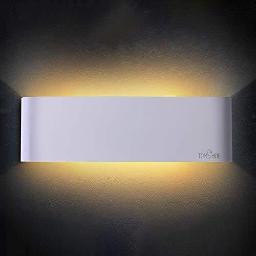 Tomshine Wandleuchte LED Innen 12W Warmweiß Up-Down Modern Wandlampe aus Aluminium für Wohnzimmer Schlafzimmer Treppenhaus Flur