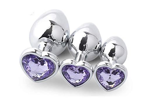 Stimulateur avec poignée en forme de cœur en acier inoxydable, entraînement lisse, kit pl-ùg An-âl pour jouets pour femme (violet clair)