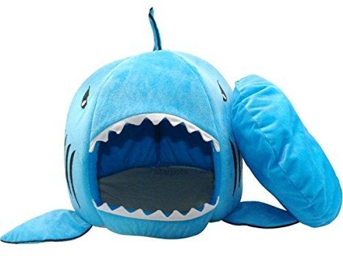 BADASS SHARKS Hai-Motive Hundehütte Hundebett Hundekörbchen Katzenbett mit Kissen Hundehaus Haustier Schlafsack für drinnen Waschbar Haus & Sofa 42cm (Blau-50cm)