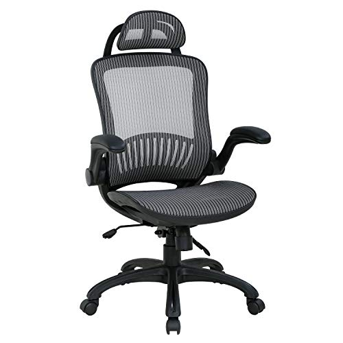HCB Office Chair Desk Chair High Back Mesh Chair Ergonomic Computer Chairs with Adjustable Headrest Flip Up Arms Backrest Lumbar Support 360 Degree Rolling Swivel for Adults Men and Women (Grey)