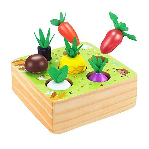 CHMORA Juegos de mesa para niños, Juegos de mesa para niños de granja tirando zanahoria juego de mesa de madera de aprendizaje temprano juguetes educativos