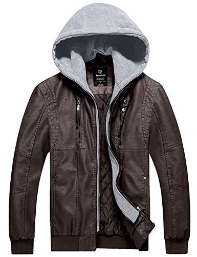 Wantdo Men Faux Leather Jacket Moto Hoodie Jacket PU Winter Outwear Dark Brown L