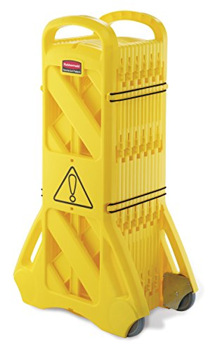 Rubbermaid FG9S1100YEL Système de Barricade de Sécurité Mobile Extensible, 60 x 35 x 100cm, Jaune