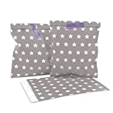 Frau WUNDERVoll 25 Stück Papiertüten, Candy Bags, Taupe, weiße Sterne 13 x 16,5 cm, 45 Gramm...