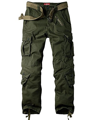Jessie Kidden Men's Combat Camo Cargo Trousers Camouflage Army Military Tactical Work Pants #7533 Army Green-38