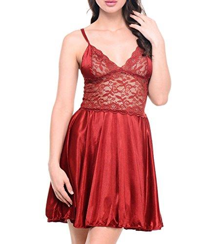 Klamotten Women's Satin Babydoll Dress with Lacework(YY07_Red_Free Size)