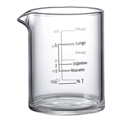 perfk Taza Medidora de Vidrio 3.38 Onzas / 100 Ml Pesado Taza de Vidrio para Expreso Línea Blanca