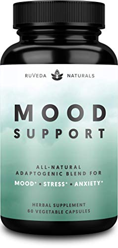 Mood Support - 100% Plant-Based Anxiety and Stress Relief Supplement - Natural Adaptogenic Mood Booster and Anxiety Supplement with Ashwagandha and Rhodiola Rosea | Contains 12 Powerful Herbs