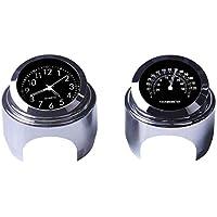 """WASTUO Reloj de manillar de motocicleta y termómetro universal de 7/8""""Manillar de motocicleta impermeable (negro)"""