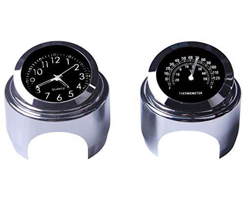 WASTUO Reloj de manillar de motocicleta y termómetro universal de 7/8