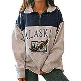 Donne Alaska Lettera Stampa Grafica Manica Lunga Felpe Hip Hop Alta Cerniera Top Blu XXL