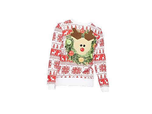 Target Corporation Men's Ugly Holiday Fleece Reindeer Trophy Long Sleeve Sweatshirt - Large Red, White