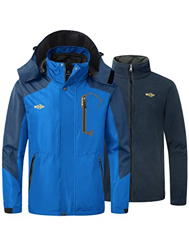 Wantdo Men's Fleece Interchange Jacket 3 in 1 Snow Coat Windbreaker Sky Blue X-Large