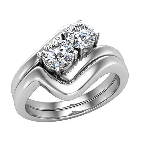 Juego de anillos de boda de diamantes de dos piedras de 0,66 quilates de oro blanco de 14 quilates (tamaño de anillo 6)