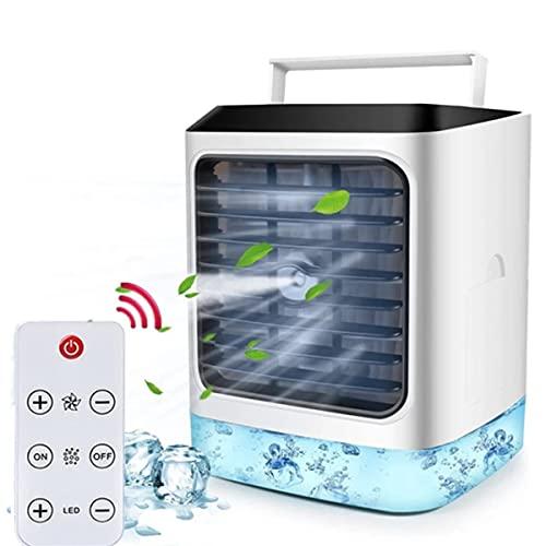 EANSSN 4 En 1 Acondicionador De Aire, Ventilador De Refrigeración por Aire Portátil, Ventilador De Pie, con Luces LED De 7 Colores, 3 Velocidades De Ventilador, para Habitación, Oficina, Hogar