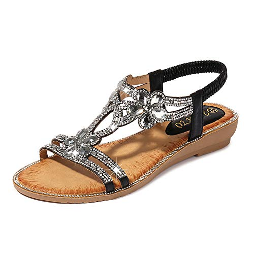 Sandalias de diamante para mujer, de ajuste ancho, sandalias planas de tacón bajo con cuentas de diamantes de imitación de verano con correa para el tobillo, sandalias adornadas, D, 39
