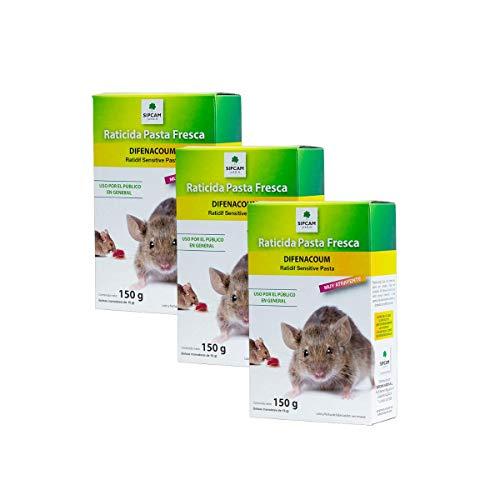 Sipcam Jardín Raticida para Exteriores contra Ratas y Ratones Rojo Cebo Fresco anticoagulante de acción rápida 10 x 15 gr (150 grs) - Pack de 3 Unidades