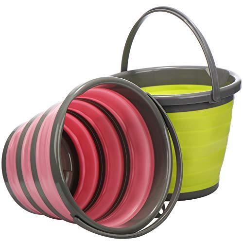 COM-FOUR® 2x opvouwbare emmers van siliconen, 10 liter als praktische opvouwbare emmer in verschillende kleuren voor kamperen, reizen maar ook als schoonmaakemmer of visbak (02 stuks - emmers)