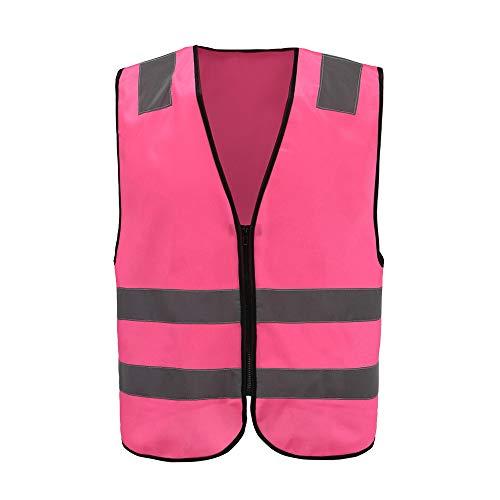 Mehrere Farben, Unisex hochsichtbare Warnweste Hohe Sichtbarkeit Warnweste Reflektierende Weste Reißverschluss Sicherheitswesten EN ISO 20471 (XL, Pink)