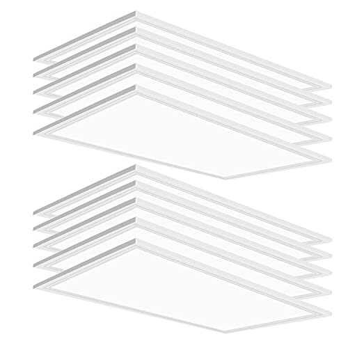 10 PCS 2x4 LED Flat Panel Light 5000K, 75W, 7800LM, Great Bright, Dimmable 0-10V, 2x4 LED Drop Ceiling Light Fixture, Recessed Edge-Lit Troffer Fixture, Drop Ceiling Install