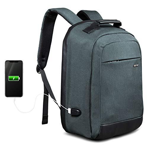 Mochila para portátil ROYALZ Business con USB para Hombre Compartimiento 15,6 Pulgadas con Apertura de 180 Grados y Cremallera Oculta, Color:Gris Oscuro