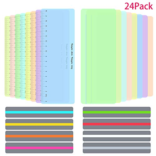24 Pieces Guided Reading Highlight Strips Colored Overlay Reading Tracking Rulers for Dyslexia & ADHD and to Reduce Visual Stress(8 Standard Size, 8 Large Size with Scale and 8 Large Size)