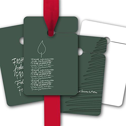 Elegante kerstcadeauhanger, papieren hanger, etiketten voor Kerstmis met kaars of kerstboom Vrolijk kerstmis • voor het versieren van cadeauverpakking