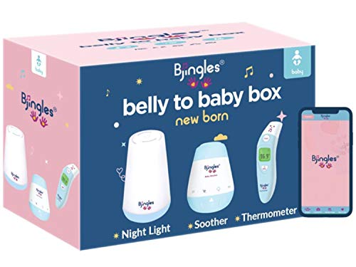 Bjingles Belly to Baby Newborn Box – Paquete premium para nuevas mamás y bebés – Incluye una luz nocturna para bebé, un calmante para bebé y un termómetro para bebé. Incluye la aplicación Bjingles con divertidas herramientas para disfrutar.