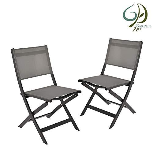 Garden Art Garden Premium Line 2 Sillas de jardín - Silla Plegable de Aluminio Resistente a la Intemperie Muebles de jardín