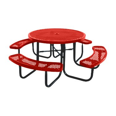 """Kirby Built Products 46"""" Round Thermoplastic-Coated Metal SuperSaver Commercial Picnic Table - Portable/Surface-Mount - Red"""