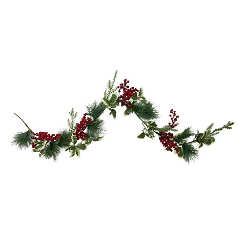 Northlight 5' x 5' Holly and Pine Springs Artificial Christmas Garland - Unlit
