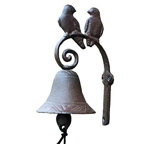 Puerta de hierro fundido de hierro fundido, país americano Vintage Vintage Hierro de hierro forjado Pájaro Pájaro Pájaro Pooncero Iron Bell Hecho A Mano Doorbell 9x3.7x6in Campanas Decorativas