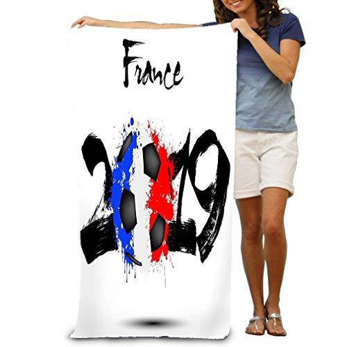 asdew987 Toalla de playa 100% poliéster (78,7 x 129,5 cm) de grosor, suave, de secado rápido, ligera, manta de fútbol de Año Nuevo como bandera Francia, número abstracto manchas pintadas fondo aislado