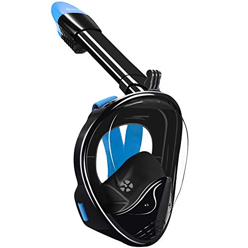 WSTOO Full Face Snorkeling Mask,Newest Upgrade 180 Panoramic Foldable Snorkeling Mask, Anti-fog Anti-leak with Detachable Camera Mount for Adult and Kids Safety Snorkeling (Black/Blue, S/M)