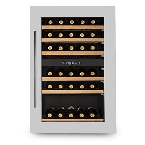 Klarstein Vinsider 35D - Weinkühlschrank, Getränkekühlschrank, 128 Liter, 41 Flaschen, 6 Holzeinschübe, 2 Zonen, Einbau, schwarz-silber