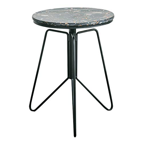 Coffee Tables Coffee Table Iron Art Round Marble Side Corner Table, Creative Leisure Sofa Living Room Bedroom Balcony Cocktail Table, Adjustable Height:52-68cm