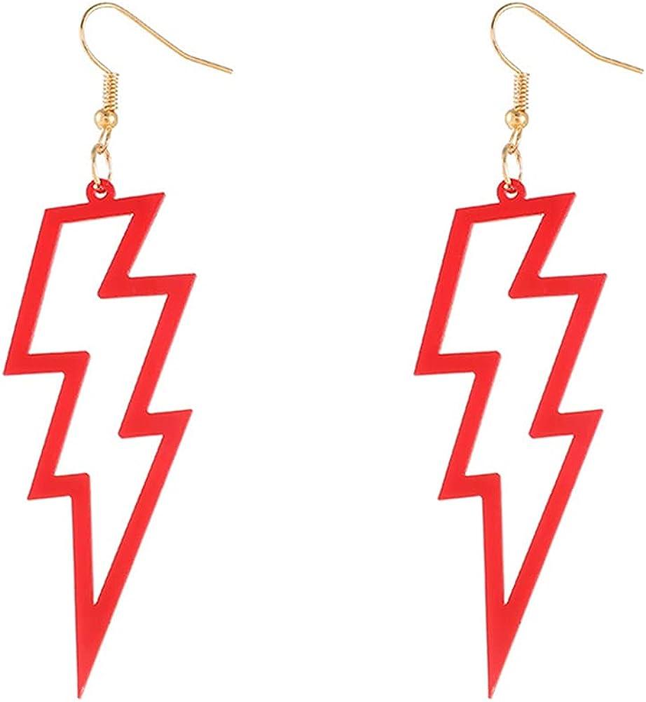 CHUNYANAN Boho Temperament Acrylic Color Hollow Lightning Dangle Drop Earrings for Women Girls Simple Versatile Charm Earrings Jewelry Gift