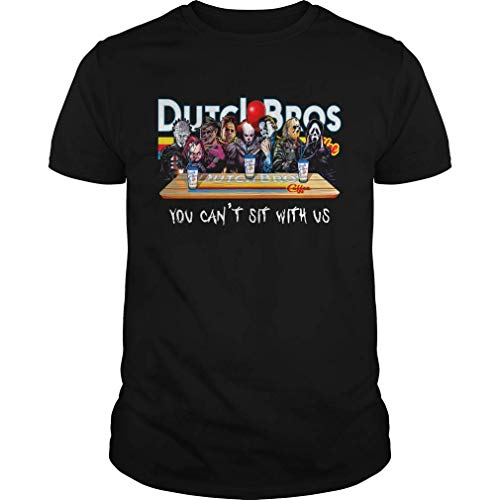 Horror Character Dutch Bros coffee you cant sit with us shirt, Short Sleeves Shirt, Unisex Hoodie, Sweatshirt For Mens Womens Ladies Kids