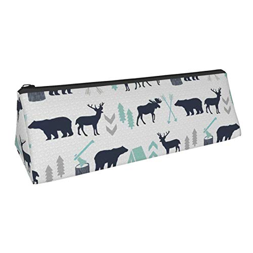 Triangle Pen Bag Woodland Boys Design Mint Grey Navy Blue Bear Moose Forest Arrow Kids Nursery Cosmetic Bags Storage Bags Stationery for Schools Students Offices Pen Pouch 8.6 X 3.1 Inch