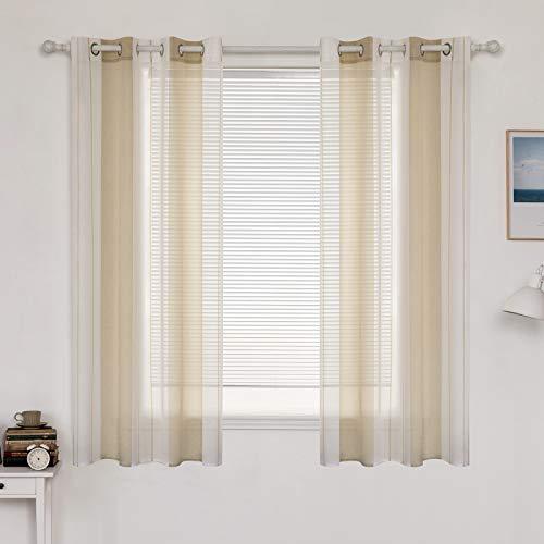 MIULEE Voile Vorhang Transparente Gardine aus Voile mit Ösen Schlaufenschal Ösenschals Transparent Fensterschal Wohnzimmer Schlafzimmer 2er Set 140x175 cm Weiß + Beige