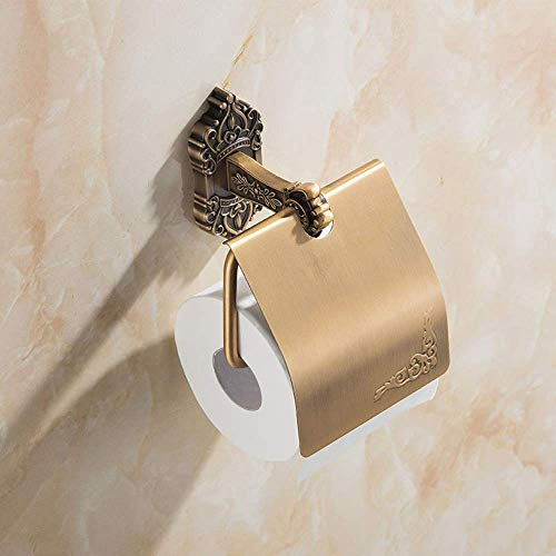 ZKAIAI-Punch Libre Moderna Minimalista baño de Bronce de Aluminio del Espacio del Rollo de Papel Titular del Papel higiénico del sostenedor de Papel de Toallas Duradera Los organizadores del Estante