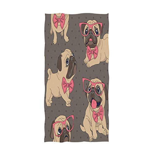 Lindo animal perro gafas Toallas de mano extragrandes, baño Toallas de ducha de baño Toalla de mano Toallas para la punta de los dedos Altamente absorbente para la mano, la cara (40x70cm) TWL-020