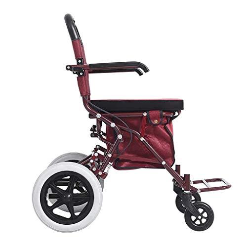 Fhxr Rode rollators 4 wiel met zitting Vrije tijd hand push scooter kan vier rondes van winkelen, vrije tijd, wandelwagen, kleine kar
