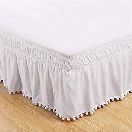 YYQQ Falda de Cama de Color sólido Envolvente Alrededor de Camisas de Cama elásticas sin Superficie de Cama Faldas de Cama Uso en el Hotel en casa (Color : White, Size : 153X203+40)